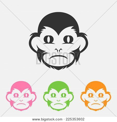 Monkey icon isolated on background. Monkey vector logo. Flat design style. Modern vector pictogram for web graphics, set color - stock vector,eps 8,eps 10