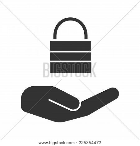 Open hand with closed lock glyph icon. Providing protection. Silhouette symbol. Security. Negative space. Vector isolated illustration