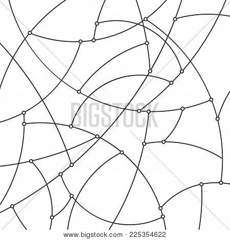 Abstract Geometric Background Of The Curves, Pattern With Black Unfinished Lines And Nodes On A Whit
