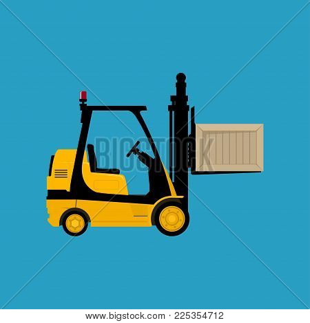 Forklift Truck Isolated On A Blue Background, Yellow Vehicle Forklift Picks Up A Box,  Illustration