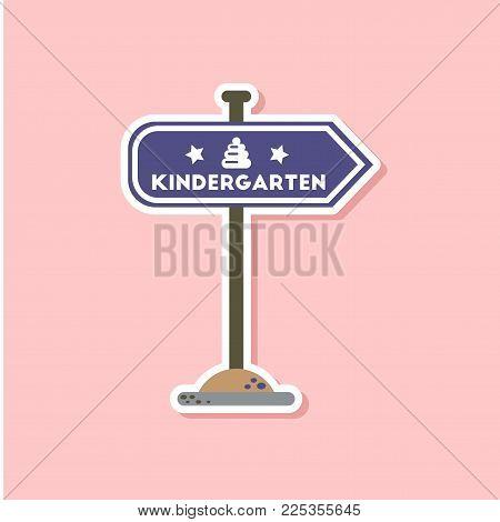 paper sticker on stylish background of sign kindergarten