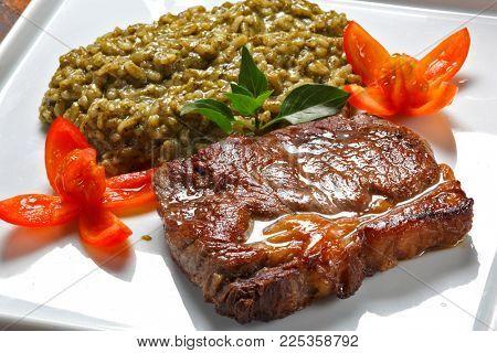 sirloin steak with risotto