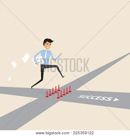 Businessman walking on the street of success with red spike sign.Way of success.Concept for success.Businessman on the road to success in business.Business vector concept illustration
