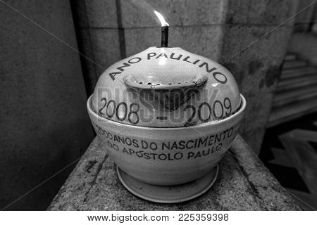 SAO PAULO, BRAZIL - FEBRUARY 02: Horizontal picture of porcelain vase inside Se Cathedral located in the center of Sao Paulo, Brazil