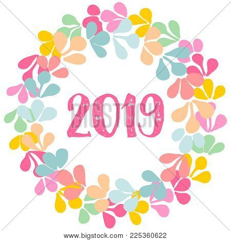 Pastel laurel wreath New Year 2019 vector frame isolated on white background