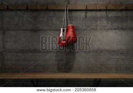 Boxing Gloves Hanging In Change Room