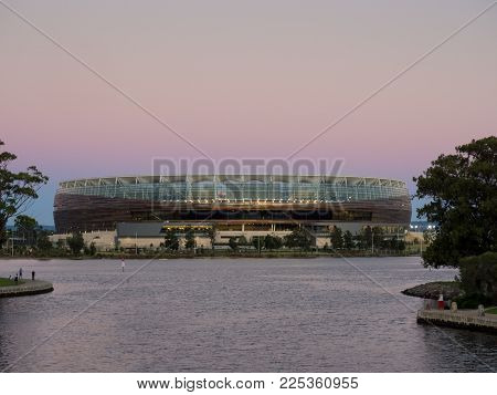 Perth, Western Australia - January 31, 2018: Perth Optus Stadium At Sunset On The Swan River.
