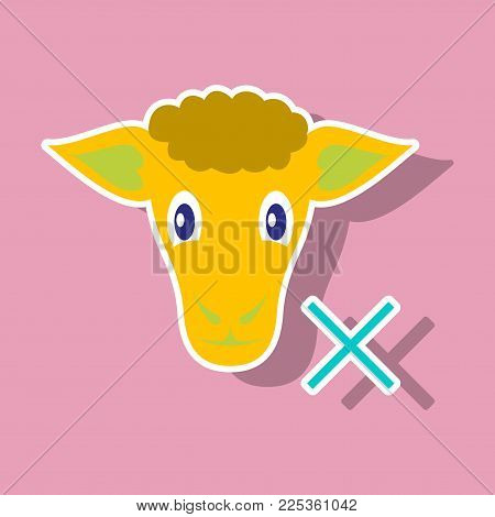 Sticker sheep to fall asleep vector illustration.
