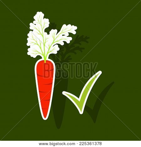 Carrot sticker icon. Carrot icon on background. Veg icon illustration. Carrot, vegetable, food, vector flat style.