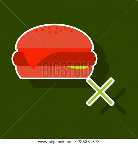 Sticker Hamburger Classic Burger American Cheeseburger with Lettuce Tomato Onion Cheese Beef and Sauce