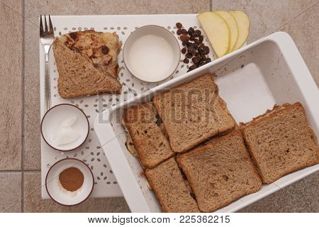 It Is Image Of Delicious Healthy Cake With Apples,raisins And Toast Bread