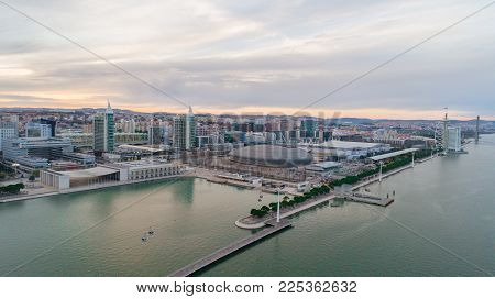 Expo district in Lisbon,Portugal.Urban modern contemporary design architecture district.New buildings in Lisbon.Business area.Park of Nations neighborhood.Vasco de Gama bridge.