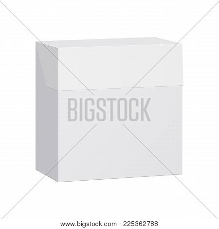 White tea box mockup. White rectangular box with lid isolated. Closed white box. Vector illustration