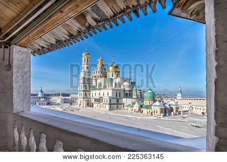 View on Resurrection Cathedral from wall of New Jerusalem Monastery in sunny winter day, Istra, Moscow oblast, Russia