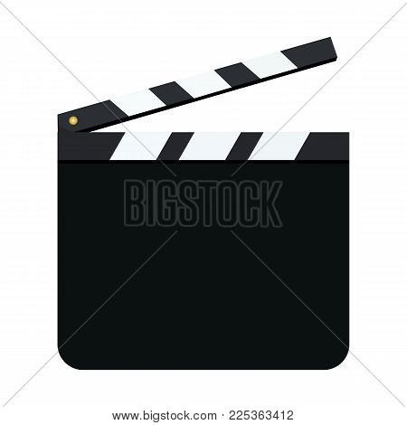 Movie clapper board mockup. Black blank open clapperboard isolated on white background. Vector illustration