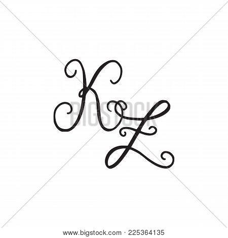 Handwritten monogram KZ icon, logo with swirls isolated on white background