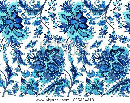 beautiful seamless vintage ornament with bright decorative blue flowers on a white background for design, colored patterns in cold tones on a light background with winter cold abstract flowers for decoration