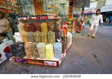 DUBAI, UNITED ARAB EMIRATES - JAN 02, 2018: Spice shop in the centre of Dubai, near the city of gold.