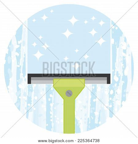 Cleaning windows service. Housekeeping or office cleaning company concept. Vector icon.
