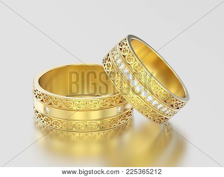 3d Illustration Two Yellow Gold Decorative Wedding Bands Carved Out Rings With Ornament On A Gray Ba