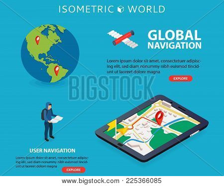 Global Navigation. Flat 3d Isometric Mobile Gps Navigation Maps Vector. World Silhouette Pin. Tablet
