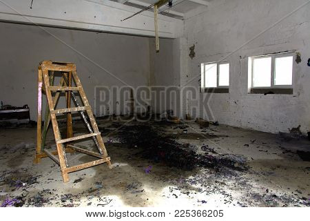 Internal Terrible Premises Of The Destroyed And Abandoned Building Of The Bakery. The Structure Of T