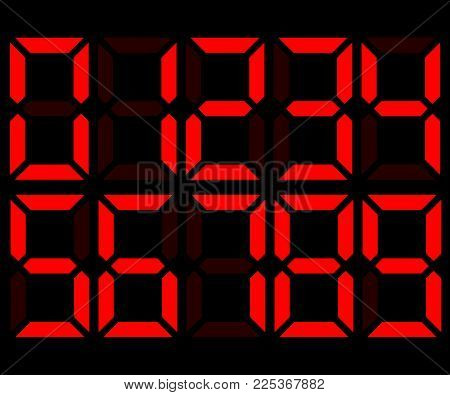 Red electronic digital numbers 0-9. Scoreboard, calculator, clock mockup. Vector illustration