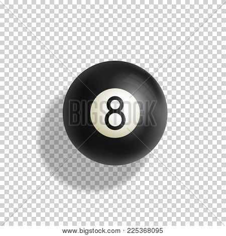 Billiards Eight Ball Realistic Vector Illustration. Green Pool Table Cloth with Black Sphere and Soft Shadows. Abstract Luck Symbol Card Template. Isolated on Transparent Background.