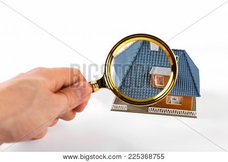 real estate inspection and valuation concept on white