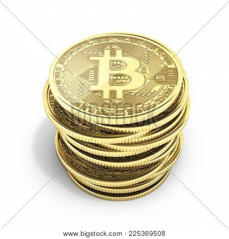 Bitcoin Pile of coins 3D isometric Physical bit coin in gold Digital currency Cryptocurrency Golden coins with symbol isolated on white background 3d render illustration