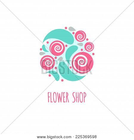 Round icon flower shop. Leaves and roses in circle. Logo of florist, order and delivery flowers online. Vector illustration