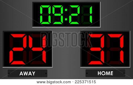 Electronic scoreboard with time and score home, away. Vector illustration