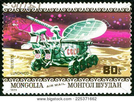Ukraine - circa 2018: A postage stamp printed in Mongolia show lunar remotely operated self-propelled vehicle Lunokhod 2. Series: Air Mail. Apollo 11 Moon Landing 10th Anniversary. Circa 1979.