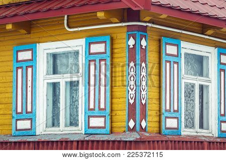 Traditional Wooden House In Waniewo, Small Village In Podlasie Region Of Poland
