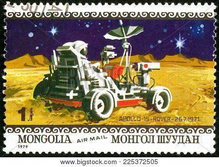 Ukraine - circa 2018: A postage stamp printed in Mongolia show lunar remotely operated self-propelled vehicle Apollo 15. Series: Air Mail. Apollo 11 Moon Landing 10th Anniversary. Circa 1979.