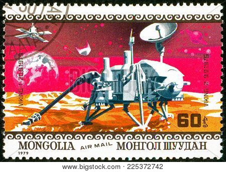 Ukraine - circa 2018: A postage stamp printed in Mongolia show interplanetary stations Viking 1 and 2. Series: Air Mail. Apollo 11 Moon Landing 10th Anniversary. Circa 1979.