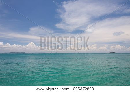 Emerald Sea And Blue Sky At Tropical Sea In Thailand.