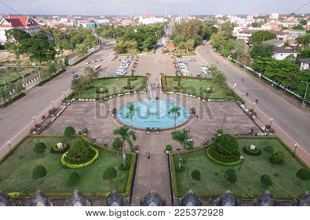 Patuxai Park View From The Top Of Victory Gate , Laos