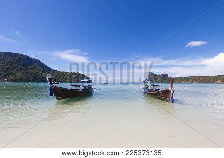 Traditional Thai Longtail Boat In Tropical Sea At Krabi , Thailand