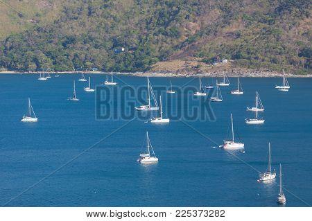 Group Yacht Sailing And Blue Sea At Phuket , Thailand