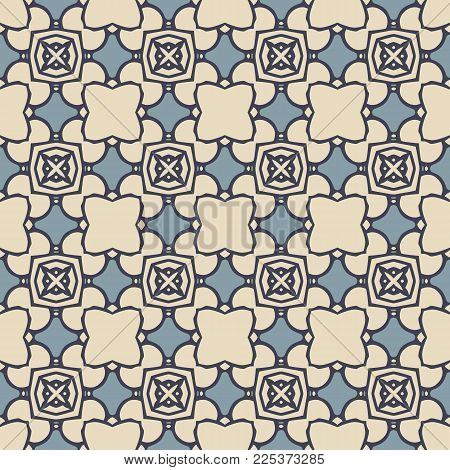 Seamless illustrated pattern made of abstract elements in beige and two shades of blue