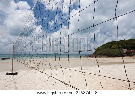 Volleyball Net On The Beach At Samed Island , Thailand