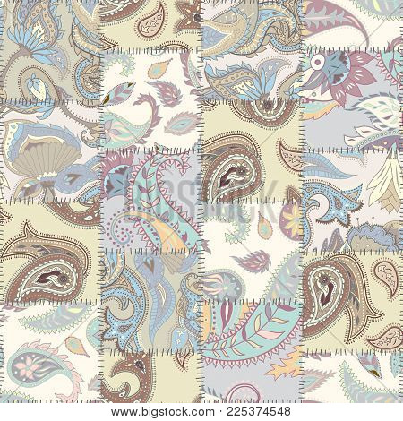 Seamless Background Pattern. Patchwork Pattern Of A Squares With Paisley Ornament Patterns.