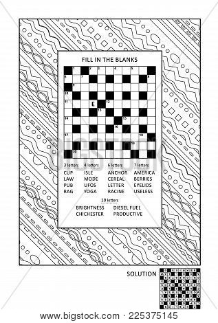 Puzzle and coloring activity page for grown-ups with criss-cross, or fill in, else kriss-kross word game (English) and wide decorative floral frame to color. Family friendly. Answer included.