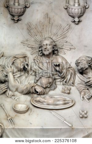 ZAGREB, CROATIA - APRIL 16: Altar of the Last Supper in Zagreb cathedral dedicated to the Assumption of Mary in Zagreb, Croatia on April 16, 2015
