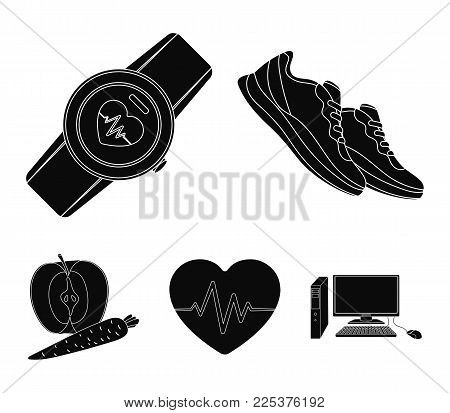 Heart Rhythm, Vitamins And Other Equipment For Training.gym And Workout Set Collection Icons In Blac