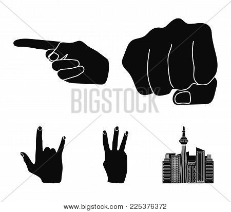 Closed Fist, Index, And Other Gestures. Hand Gestures Set Collection Icons In Black Style Vector Sym