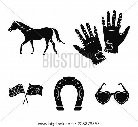 Race, Track, Horse, Animal .hippodrome And Horse Set Collection Icons In Black Style Vector Symbol S