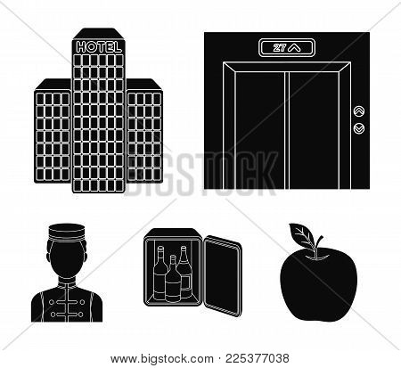 Elevator Car, Mini Bar, Staff, Building.hotel Set Collection Icons In Black Style Vector Symbol Stoc