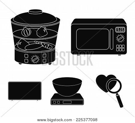 Steamer, Microwave Oven, Scales, Lcd Tv.household Set Collection Icons In Black Style Vector Symbol